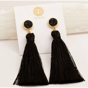 • {Gorjana} Astoria Black Fringe Earrings •
